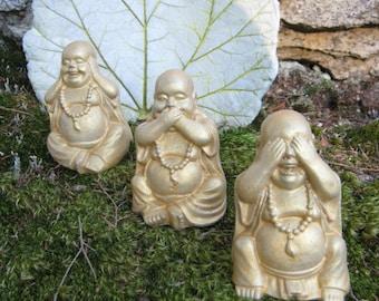 Buddha Statues Gold or Black & Gold, Concrete Buddha Figures