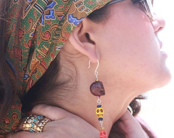 FOUR COLORFUL SPIRITS Multicolored Skull Beaded Chandelier Earrings