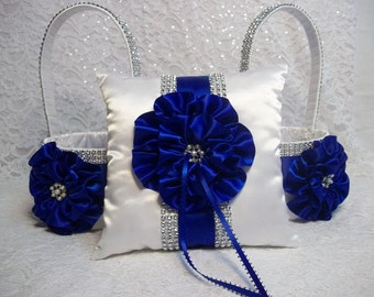 Flower Girl Baskets and Ring Bearer Pillow Set, 2 White Baskets and Pillow with Royal Blue Flowers, Trim, Rhinestone Mesh handle and Trim