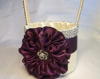Eggplant & Ivory Flower Girl Basket with Rhinestone Mesh handle and Trim, Lots of Bling, Custom Made to Order