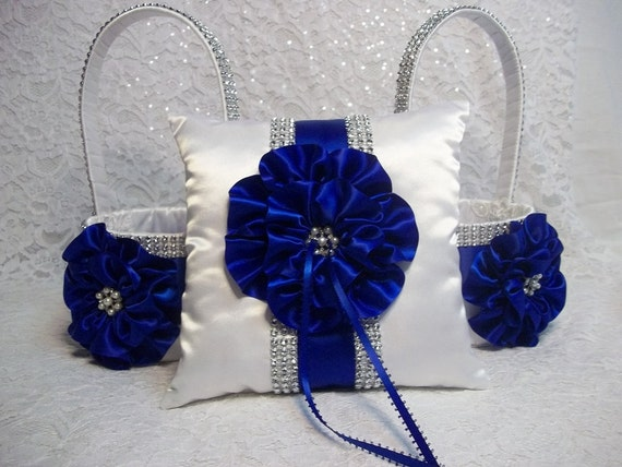 Flower Girl Baskets And Matching Ring Bearer Pillows : White flower girl baskets and matching ring by