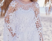 Crocheted poncho white black  made to order crochet handmade chic elegant spring summer beach wedding bridal celebration romantic feminine