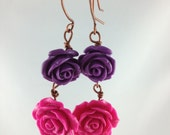 rose bud earrings pink and purple dangles handmade roses