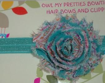 Vintage Floral Teal Shabby Frayed Chiffon Flower Elastic Headband Babies Toddlers Girls