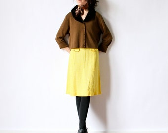 60s Mod Pencil Skirt Woven Yellow Loomtogs Mad Men office light summer linen tailored wiggle fit high waist bright pop color