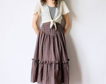 70s Boho Peasant Skirt, Plaid Western Hippie Tiered Midi Ruffle Yoke hipster prairie lightweight summer office petticoat frock