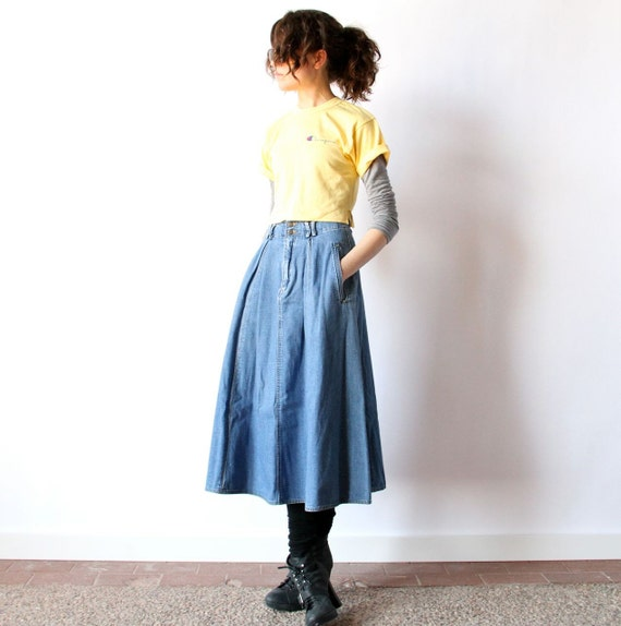 Denim Midi Skirt 80s High Waist Faded Blue Jean pleated