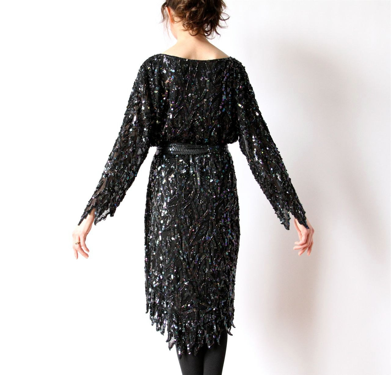 Black Sequin Cocktail Dress With Feather Hem 20