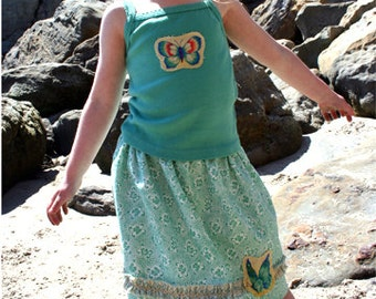 SALE: Green Swirl Lined Skirt With Multi Colored Geometric Ruffle Trim & Frayed Applique Butterfly Patch PLUS Coordinating Kale TankTop