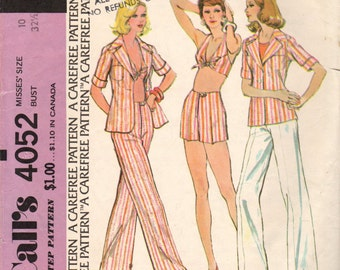 1974 Misses' Shirt-Jacket, Top and Pants McCall's 4052 Size 10 Bust 32 1/2