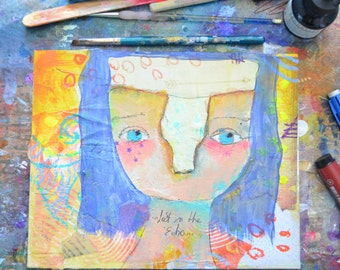 Lost In The Echo -- Original Mixed Media Nixie painting