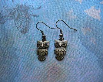 Clearance Sale - Bronze Owl Earrings - Antiqued Bronze, Owl Charm Jewelry, jingsbeadingworld inspired by nature, gift for her