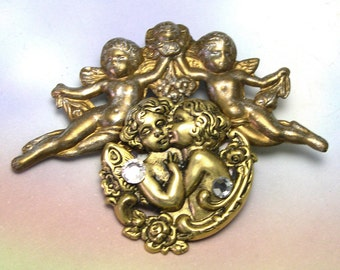 Cherub Angel Brooch, angel brooch, angel pin, cherub brooch, brass, upcycled, recycled, rhinestones, angel jewelry