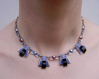 German Art Deco Theodor Fahrner Gustav Braendle Pforzheim 1920s 1930s 935 Silver Necklace Enamel Onyx Collier Anhaenger Kette Silber