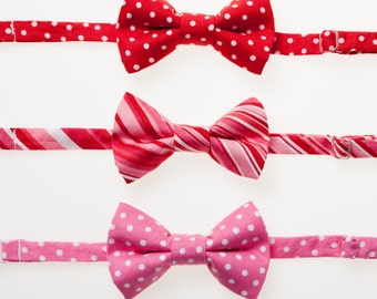 little boy valentines day bowties red with white dots pink and red stripes