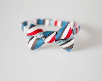 Toddler Bow Tie - Red and Blue Stripes - Little Boy Bowtie