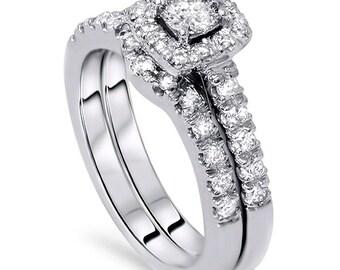 SI2/I1 1.30CT Cushion Halo Diamond Engagement Ring Low Profile Matching Wedding Band Bridal Set 14K White Gold