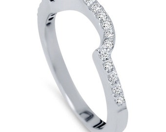 1/4CT Curved Notched Diamond Wedding Guard Anniversary Ring 14K White Gold Band