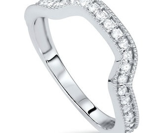 Diamond .34CT Curved Ring Notched Wedding Band Guard Enhancer, Wedding band, Enhancer, Weddingring, 14K White Gold 14K White Gold Size (4-9)