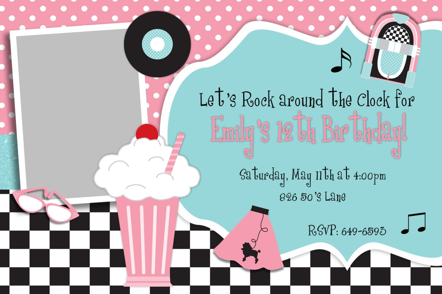 50S Theme Party Invitations | southernsoulblog.com
