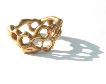 Honeycomb Ring - Golden Brass Honeycomb Band Ring