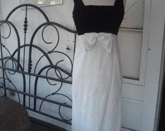 1960s Vintage Cocktail or Evening Mad Men Gown  Black Velvet top with white skirt Empire Waist Nicely made stunning