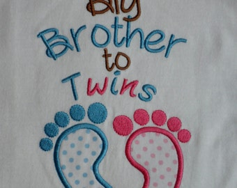 Twins Big Brother to Twins Embroidered Shirt  You Pick the colors of the feet.. Twins baby Gift