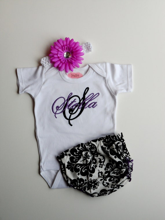 Damask Purple and Black Personalized Baby Girl by sassylocks