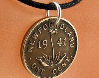 NEWFOUNDLAND coin necklace. Canadian jewelry. Canada. newfie. Penny. flower coin plant. Canada Coin Charm Pendant. choose year NO.00986