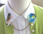 Astronaut and the World Double Brooch Pin Jewelry Geekery Planet Earth Galaxy