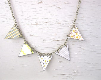 Geometric Necklace Yellow Pastel Spring Cottage Chic Triangle Bunting Chevron Polka Dots light Summer Gift