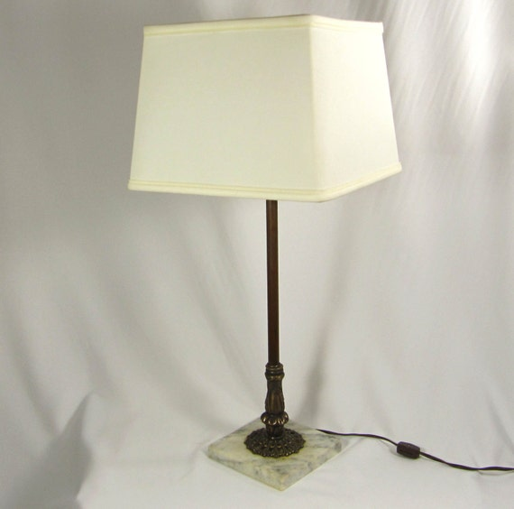 Table Lamp Vintage Made In Italy Marble Base Cast Brass Tall 1960s