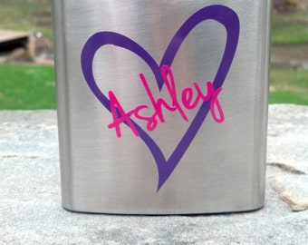 Bridesmaid flask, 6 ounce, stainless steel personalized flask. Bridesmaid gift and Maid of honor gift. Plum hot pink.  Bachelorette flask