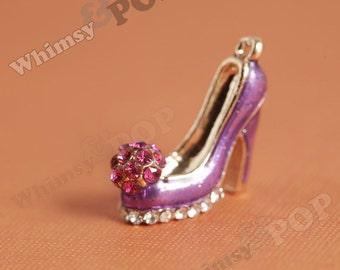1 - 3D Dark Purple Crystal Rhinestone High Heel Shoe Gold Tone Kawaii Charm, Purple Shoe Charm  (3-1H)