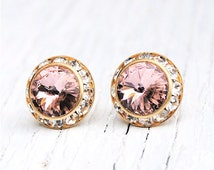 French Rose Pink Earrings Diamond Rhinestone Earrings Vintage Swarovski Rose Pink Studs Sugar Sparklers Mashugana