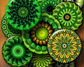 Green Mandala - 2.625 inch and 1.313 inch circles - Digital Collage Sheet CG-584 for Mirrors, Buttons, Magnets