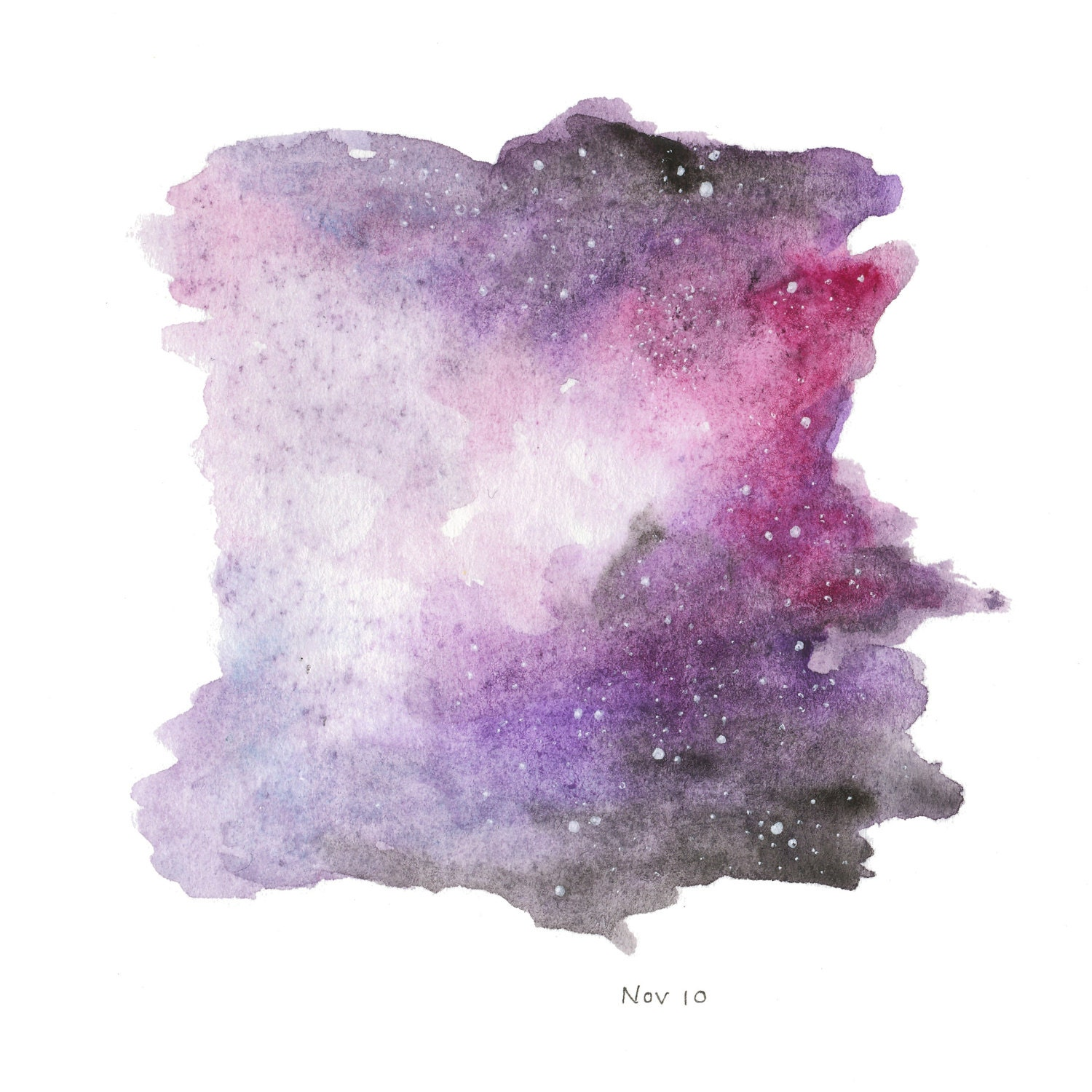 Galaxy Watercolor Painting 6x6