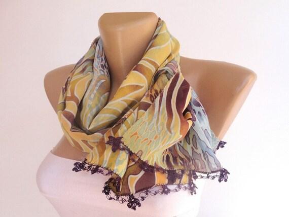 women scarf summer  fashion scarf, chiffon scarves / neckwarmer ,spring woman scarf, purple,crochet lace scarf  / for her senoAccessory