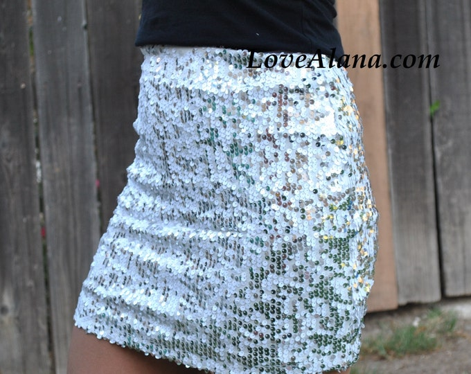Free Shipping! Last One - Small White Sequin Skirt - Stretchy, beautiful fun party skirt - Small only