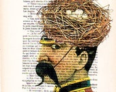 Painted portraits Drawing Illustration Giclee Prints Posters Mixed Media Art Acrylic Painting Holiday Decor Gifts: Birdnest man