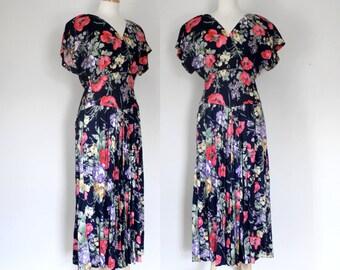 80s Dress / 80s Floral Dress / 80s Maxi Dress / 80s Midi Dress / 80s Country Style  / JS Edwards