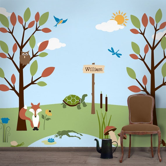 Forest wall mural stencil kit for kids room baby nursery for Childrens mural wallpaper