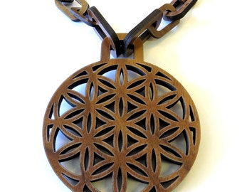 Flower of Life Wooden Chain Necklace made of Sustainable Walnut, 100% natural wood bling