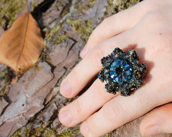 Black crystal ring - dark crystals, black diamond Swarovski crystal ring, mineral glitter, dark mori gothic ring, elf, black crystal jewelry