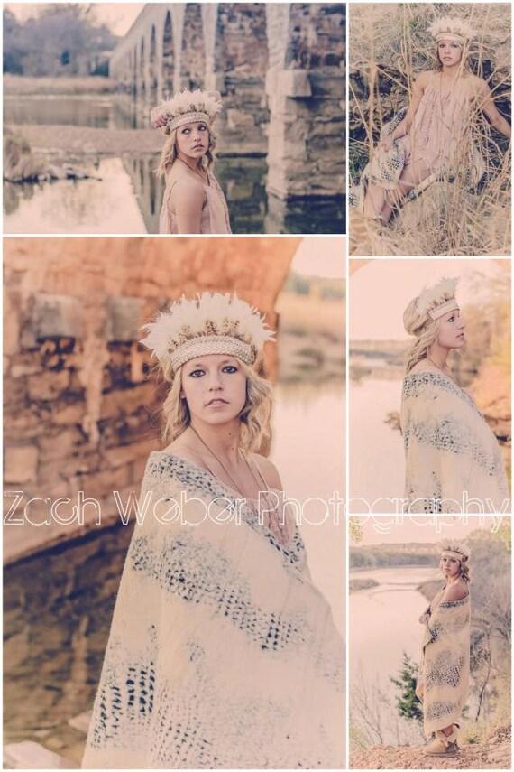 l o v e  c r u s h ... Boho Dreams feather crown headdress festival head piece lace ivory brown tween/adult size ORIGINAL DESIGN