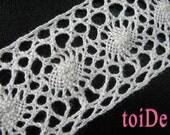 Vintage Ivory Crochet Ribbon Trim Cluny Lace