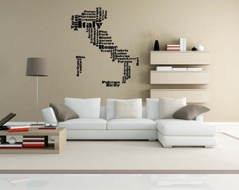 Italy Map, Italy Wall Art, Italy Gift, Word Cloud, Wall Decal, Florence Italy, Vinyl, Sticker, Home Wall Art, Office Decor, Dorm Decor