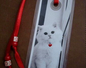 White Kitten with Pink Circle Pendant Bookmark - 50 Percent Donation Item