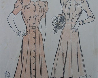 Fabulous Vintage 30's  Misses' SOFTLY TAILORED DRESS Pattern / 42 Bust