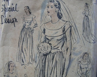 Fabulous Vintage 40s Vogue Special Design Misses'  EVENING Or BRIDAL DRESS Pattern